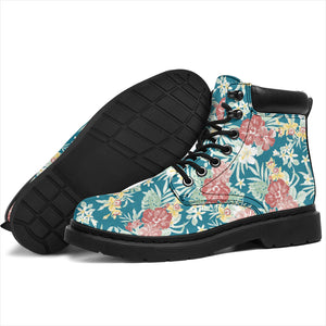 Blue Hawaiian Tropical Floral Print Boots