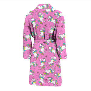Pink Cartoon Unicorns Pattern Men's Bath Robe