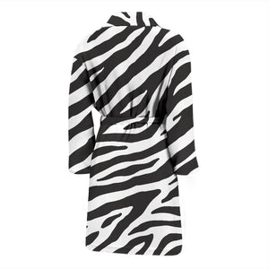 Zebra Skin Print Men's Bath Robe