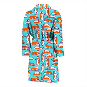 Green Cute Corgi Pattern Men's Bath Robe