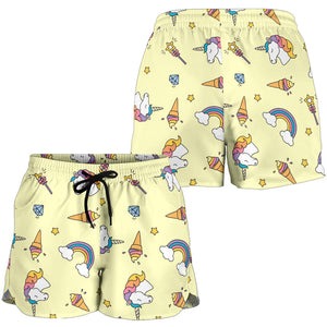 Yellow Rainbow Unicorn Women's Shorts