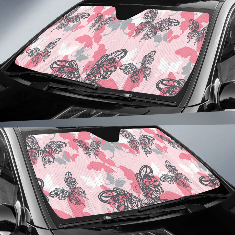 Pink Butterfly Car Sun Shade