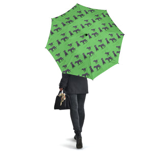 Green Dog Irish Wolfhound Umbrellas
