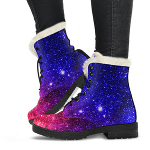 Abstract Colorful Universe Faux Fur Leather Boots
