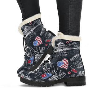 American Lover Faux Fur Leather Boots
