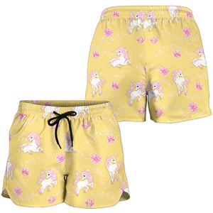 Yellow Unicorn Fantsatic Flowers Women's Shorts
