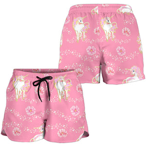 Pink Unicorn Fantsatic Flowers Women's Shorts