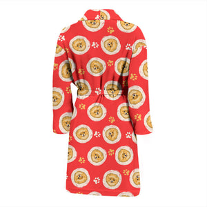 Red Pomeranians Face Men's Bath Robe