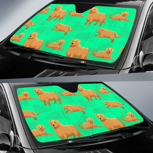 Golden Retriever Standing Auto Sun Shades