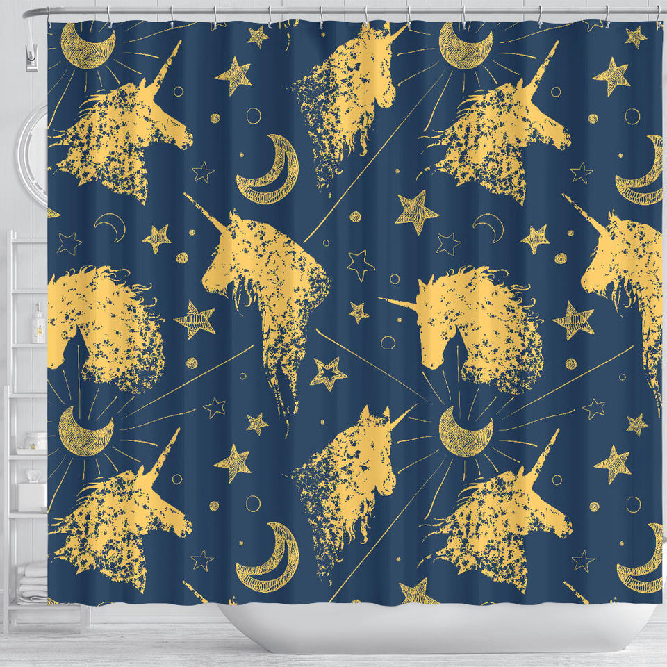 Luxury Unicorns Stars Shower Curtain