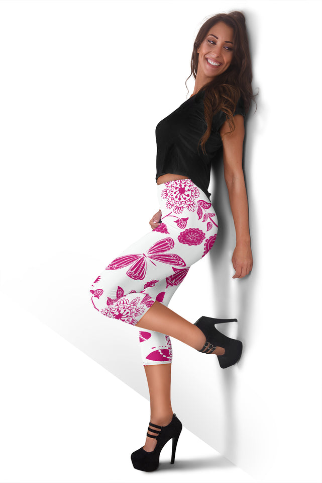 Pink Floral Butterfly Women's Capris