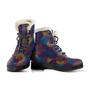 Camouflage Abstract Camo Urban Colorful Faux Fur Leather Boots