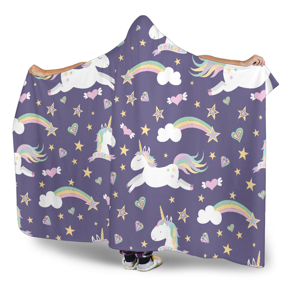 Purple Magical Unicorns Hooded Blanket