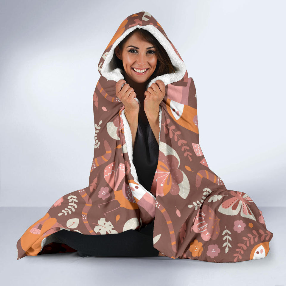 Red Funny Sloths Hooded Blanket