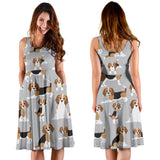 Cute Beagles On Gray Dress