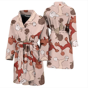 Brown Cute Poodles Men's Bath Robe