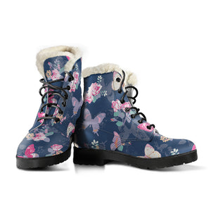 Rose Butterfly Navy Faux Fur Leather Boots