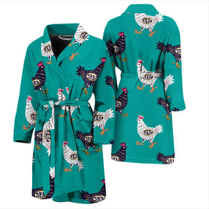 Green Cute Chicken Men's Bath Robe