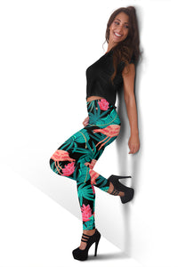 Tropical Leaves Flamingos Women's Leggings