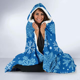 Vintage Blue Snowflake Hooded Blanket