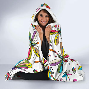 Dragonfly Colorful White Hooded Blanket