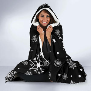Black Snowflake Hooded Blanket