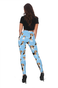 Cute Beagles On Blue Women's Leggings