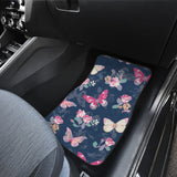 Rose Butterfly Navy Front And Back Car Mats (Set of 4)