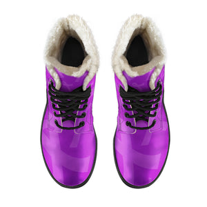 Purple Ribbon Awareness Cancer Faux Fur Leather Boots