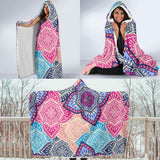 Vintage Color Flower Zen Mandala Hooded Blanket