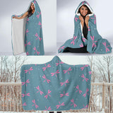 Pink Flying dragonfly Hooded Blanket