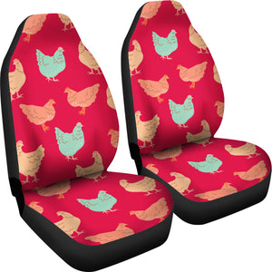 Red Vintage Chicken Car Seat Covers