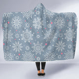 Winter Gray Snowflake Hooded Blanket