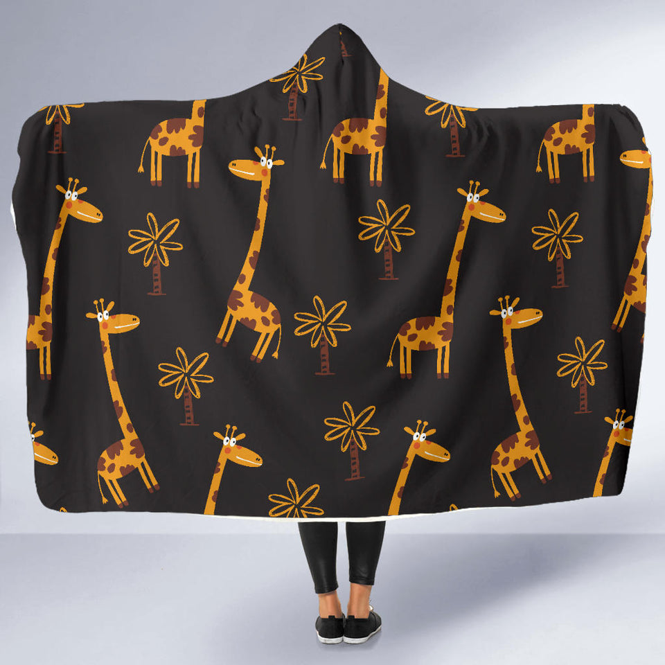 Giraffes in Black Hooded Blanket