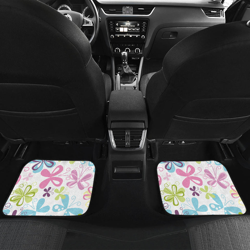 Butterfly Colorful Front And Back Car Mats (Set of 4)