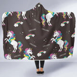 I Love Unicorns Black Hooded Blanket