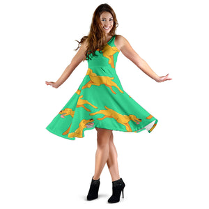 Green Running Golden Retriever Dress