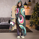 Rainbow Moon Magic Unicorns Hooded Blanket