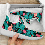 Tropical Leaves Flamingos Mesh Knit Sneakers