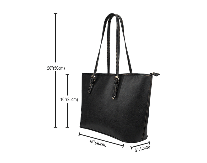 Black Valentine's Day Small Leather Tote