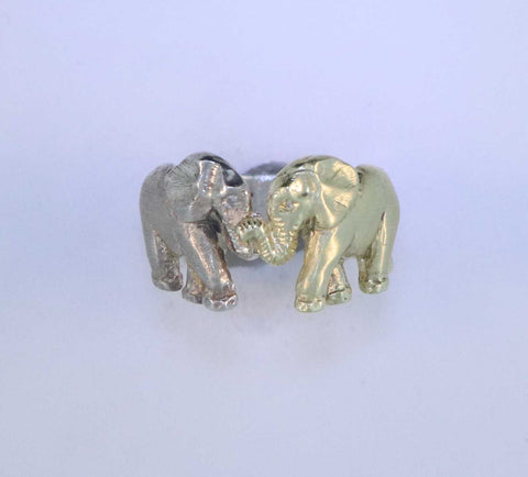 SS/14KT Elephant Ring