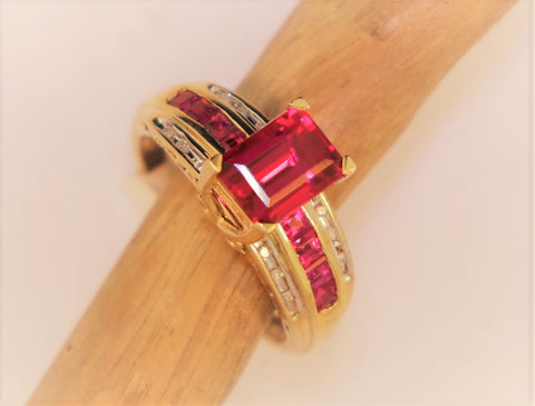 14KT Synthetic Ruby Ring