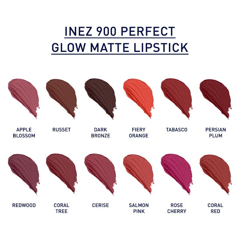 Inez 900 Perfect Glow Matte Lipstick - Coral Red