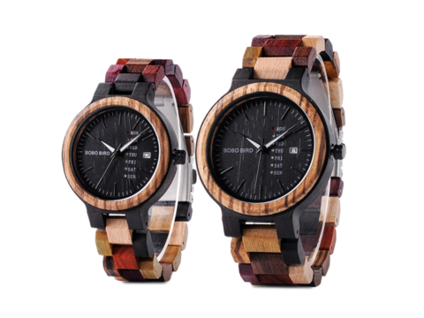 With unique designs and colors, BOBO BIRD has matching wood watches for him and her.