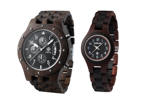 With deep rich hues, the sandalwood duo is a unique combination of wood watches for him and her.