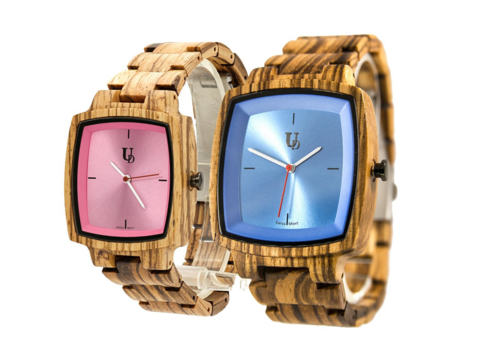 With blue and pink dials for him and her, Urban Designer keeps it traditional.
