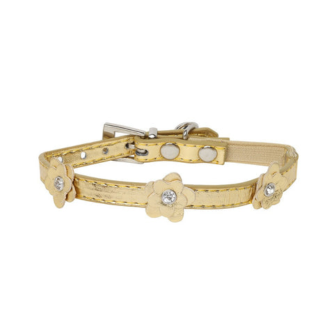 Rufus & Coco Flower Diamante Cat Collar - Gold