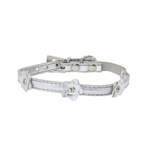 Rufus & Coco Flower Diamante Cat Collar - Silver
