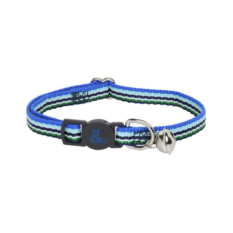 Rufus & Coco Stripe Nylon Cat Collar - Blue