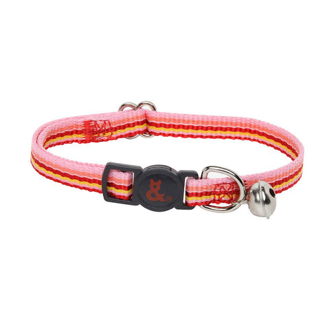 Rufus & Coco Stripe Nylon Cat Collar - Pink